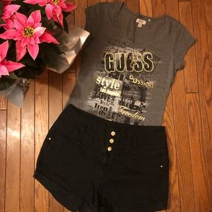 Refuge black high waisted shorts w/Gray guess top